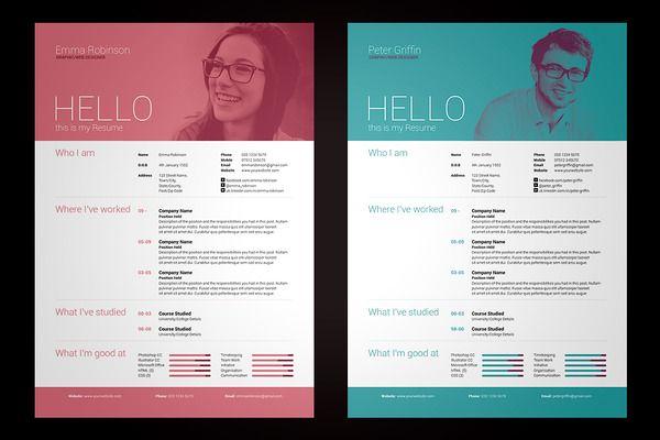 My Resume V1 by bilmaw creative on Creative Market
