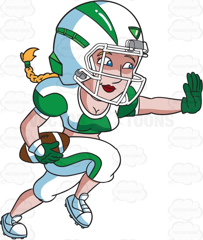 a female football player charges ahead while blocking an opponent cartoon clipart vector vectortoons stockimage stockart art [ 863 x 1024 Pixel ]