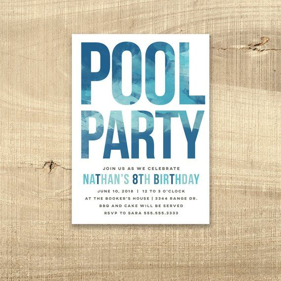 Pool Party Invitation Birthday Invite Water Boy Girl 16th Sweet 16 1st Teen Firs