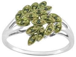 Round Accent India Green Diamond(Tm), Rhodium Over Sterling Silver Ring