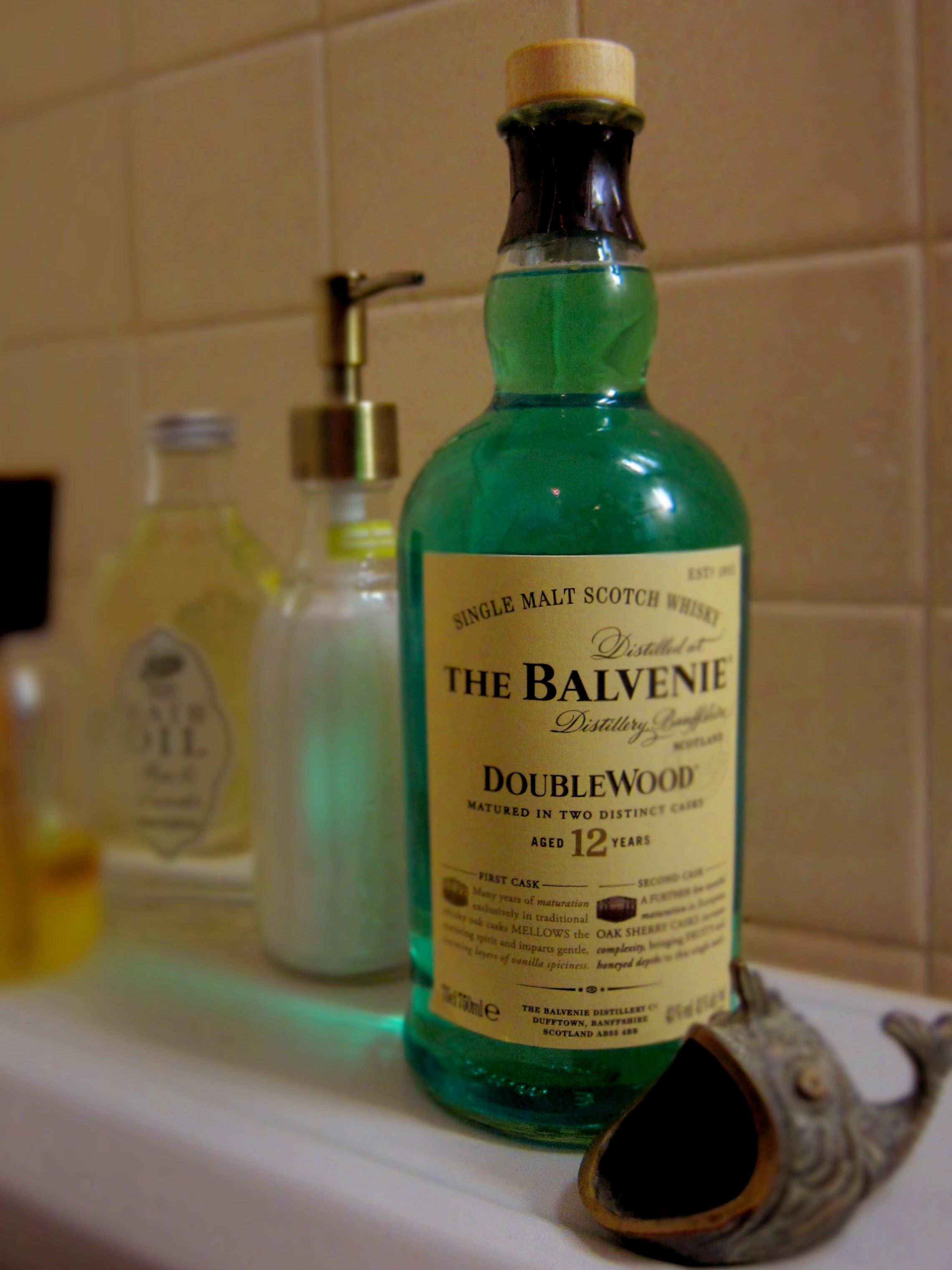 Use pretty scotch bottle for mouthwash.