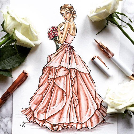 48a927981ae Custom Bridal Illustration Ink and Coloured Pencil | Sapphira's ...