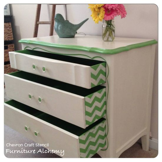 chevron painted furniture. Chevron-craft-stencil-painted-furniture-drawers-pattern Chevron Painted Furniture A