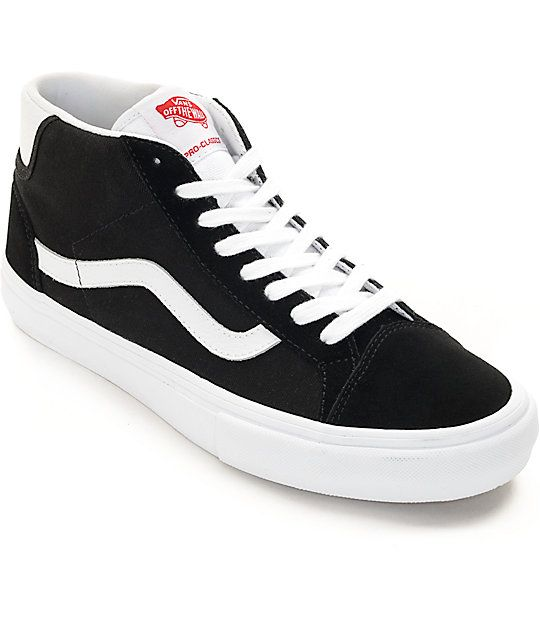 Vans Mid Skool Pro Black & White Skate Shoes | Black, white