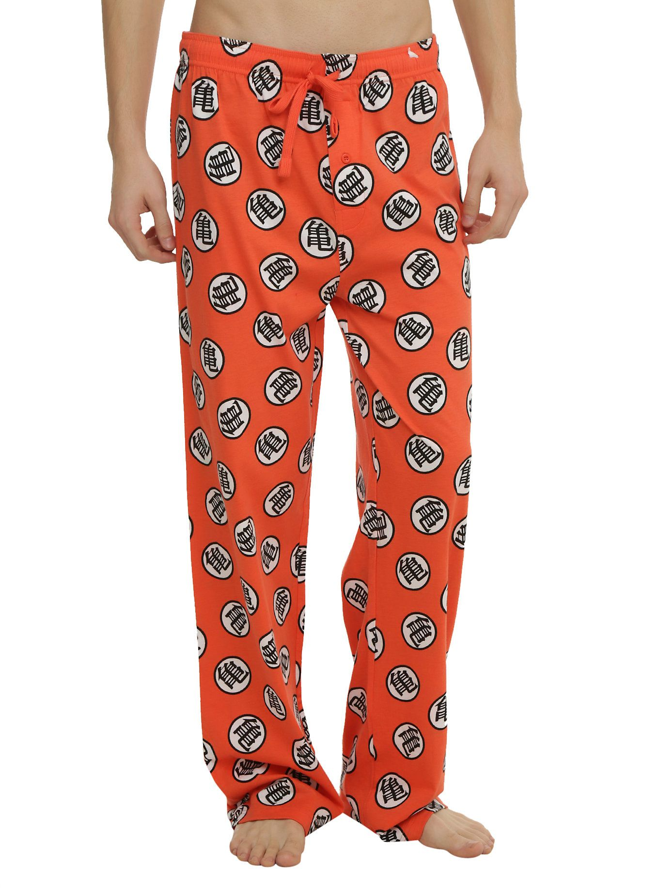 p Comfy guys pajama pants from  i Dragon Ball Z  i  with an allover  symbols print design and an elastic drawstring waist with single button fly. 3ce0284d5
