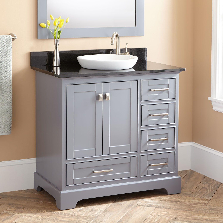 36 Quen Vanity For Semi Recessed Sink Gray Vessel Sink Vanity
