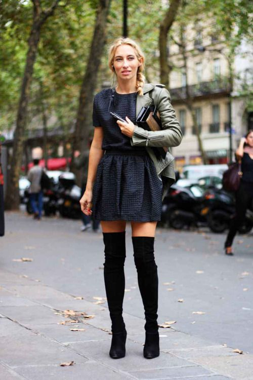 leather & suede over the knee boots