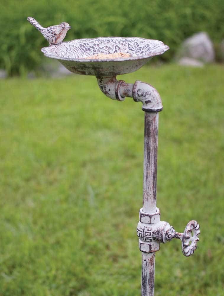 Decorative Distressed Antique White Rustic Country Garden Stake Bird Bath Feeder Bird Bath Garden Projects Bird Feeders