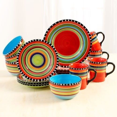 Dinnerware Set Southwestern Dishes16 Piece Plates Cups Mugs Bowls