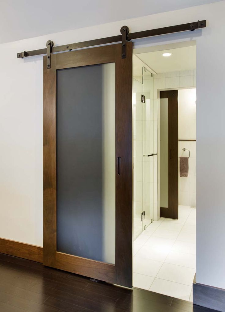 Sleek And Modern Glass Panel Barn Door That Separates The Master Bathroom And Bedroom Door Glass Design Glass Barn Doors Sliding Glass Door