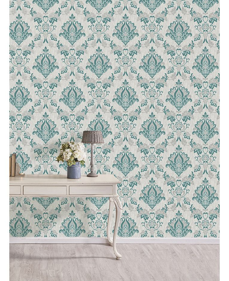 This Synergy Damask Wallpaper In Teal Grey And Cream Has A
