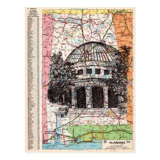 Alabama Map Art Postcard
