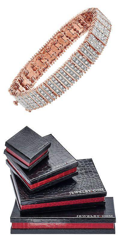 Diamond 10976: 1 Ct Diamond Box Tennis Bracelet In 18K Rose Gold-Plated Brass -> BUY IT NOW ONLY: $99.99 on eBay!