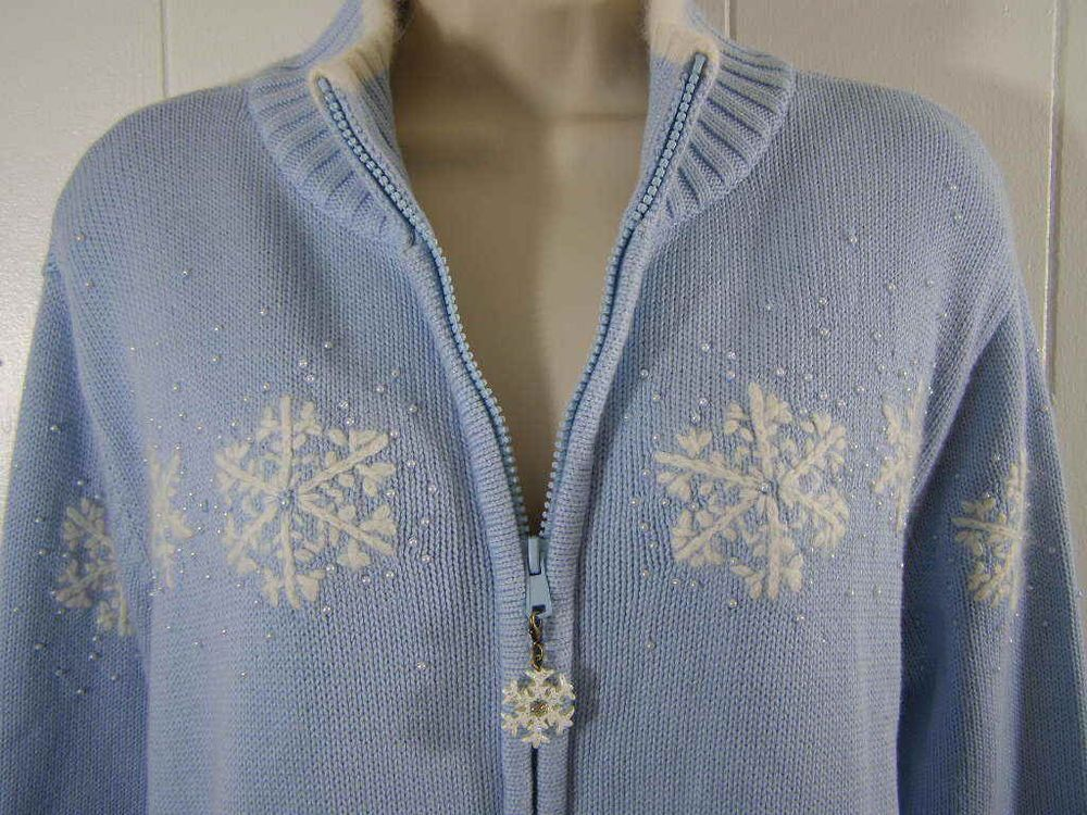 5a1cd212cd7 Women s Plus Size 1X Quacker Factory  Snowflake Winter Zip  Cardigan Sweater  Blue  QuackerFactory