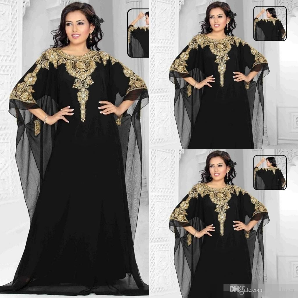 Dubai evening gowns new chiffon gold and blackcrystals beaded