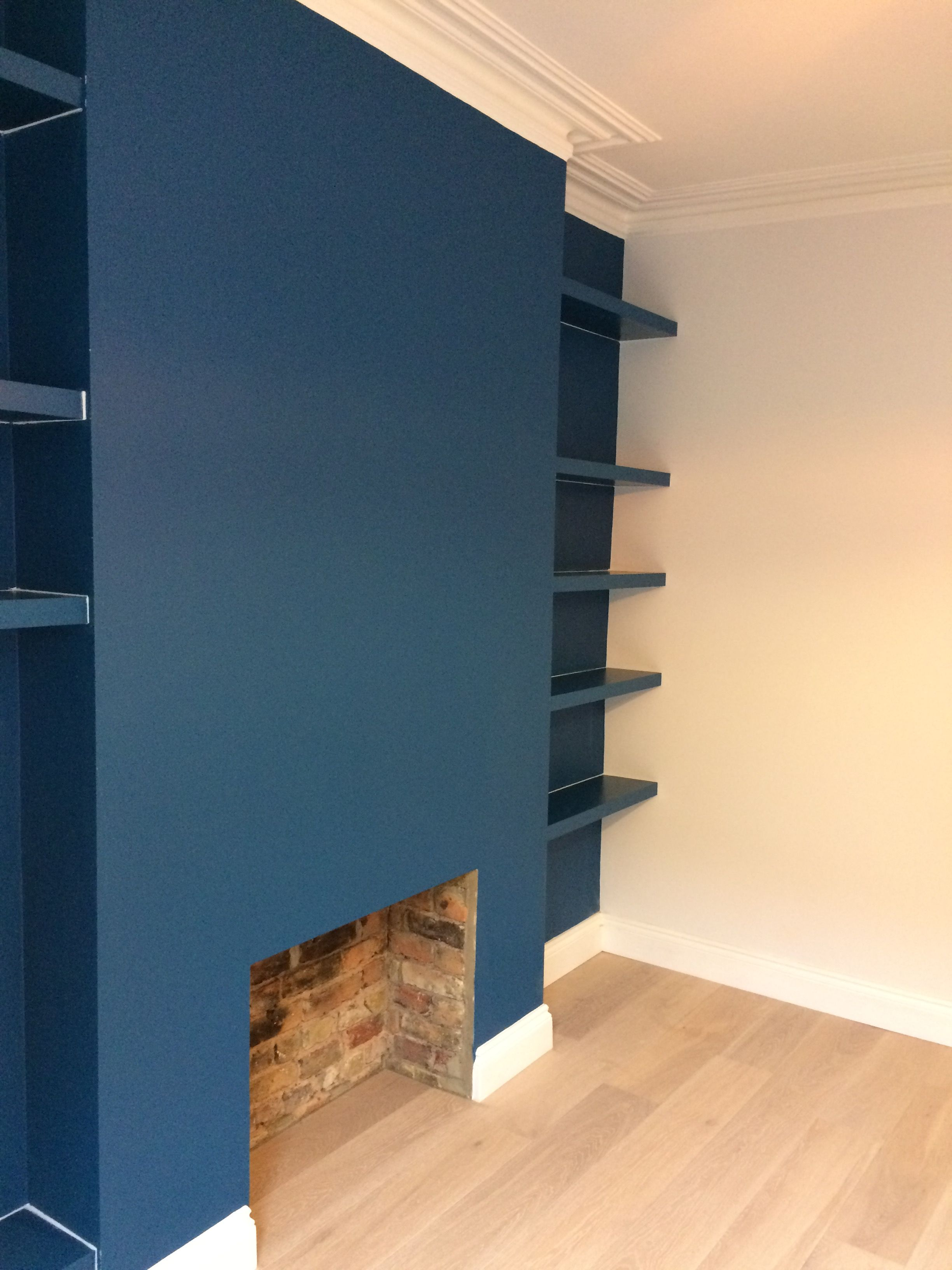 Alcove Shelves Primed Painted Dark Blue Caulked Ready