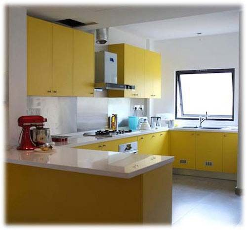 Yellow Kitchen Cabinet With Ushaped Layout  Ikea Kitchen Enchanting How To Design Kitchen Cabinets Layout Design Ideas