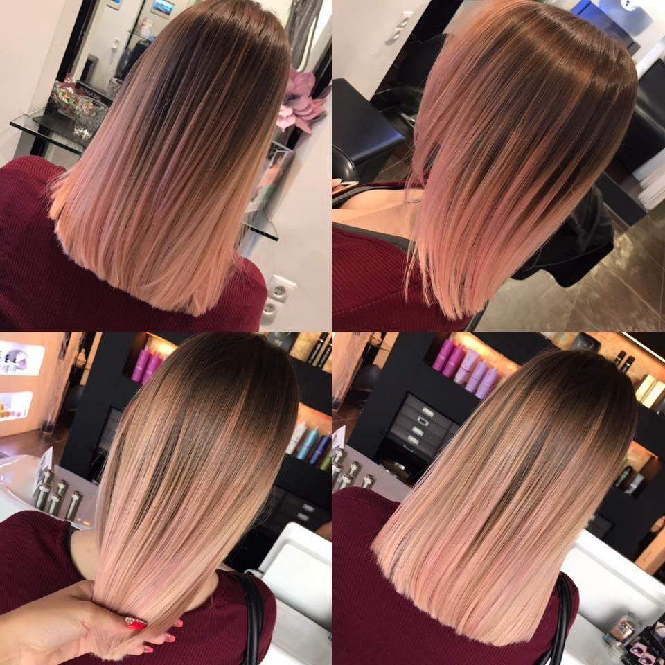 Balayage rosé rosa short hair colorfull hair rosé gold