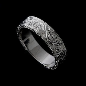 Fancy K Solid White Gold Art Deco Style Hand Engraved Men us Wedding Band Ring This matches