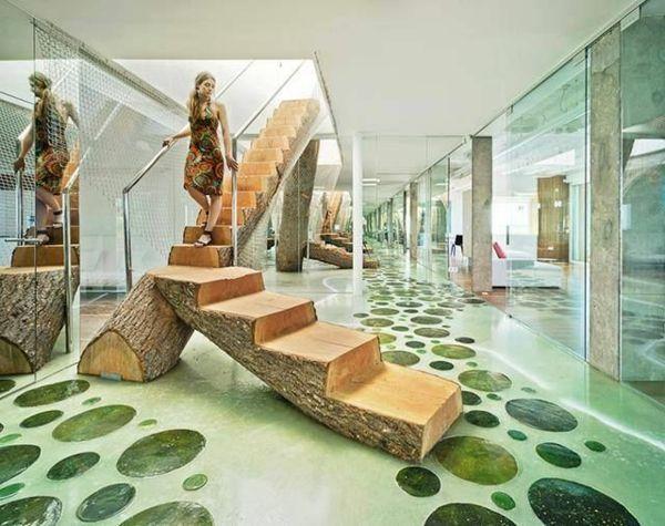 Holztreppe Gestalten Interior Design Baum Bodenbelag
