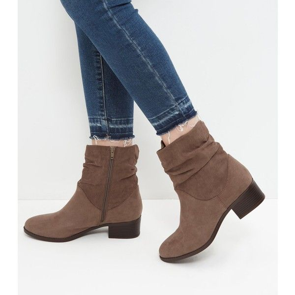New Look Wide Fit Brown Suedette Ruched Ankle Boots (£25) ❤ liked on Polyvore featuring shoes, boots, ankle booties, light brown, zip ankle boots, light brown booties, brown booties, brown boots and zipper boots