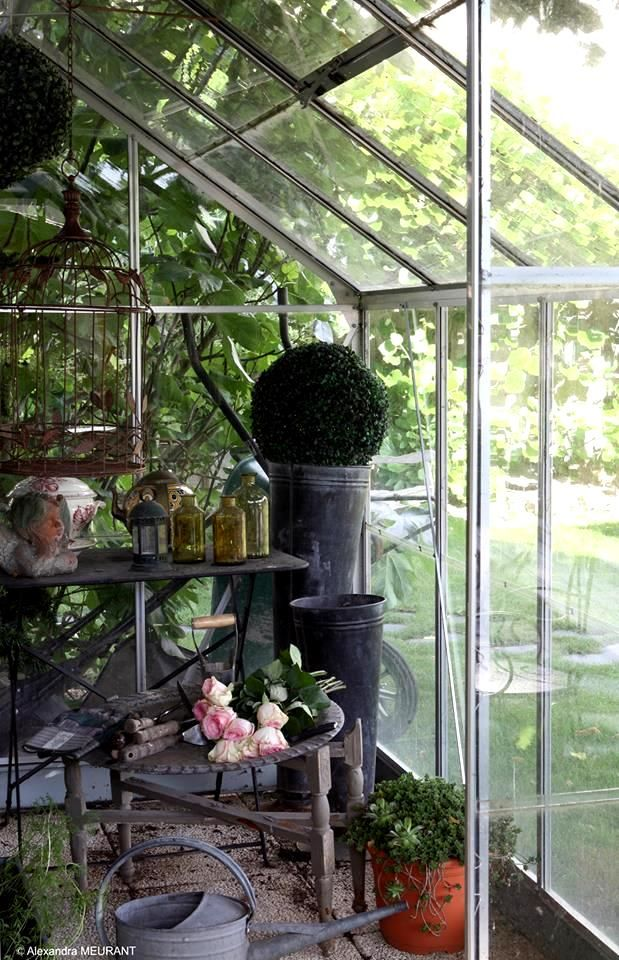 french country green house