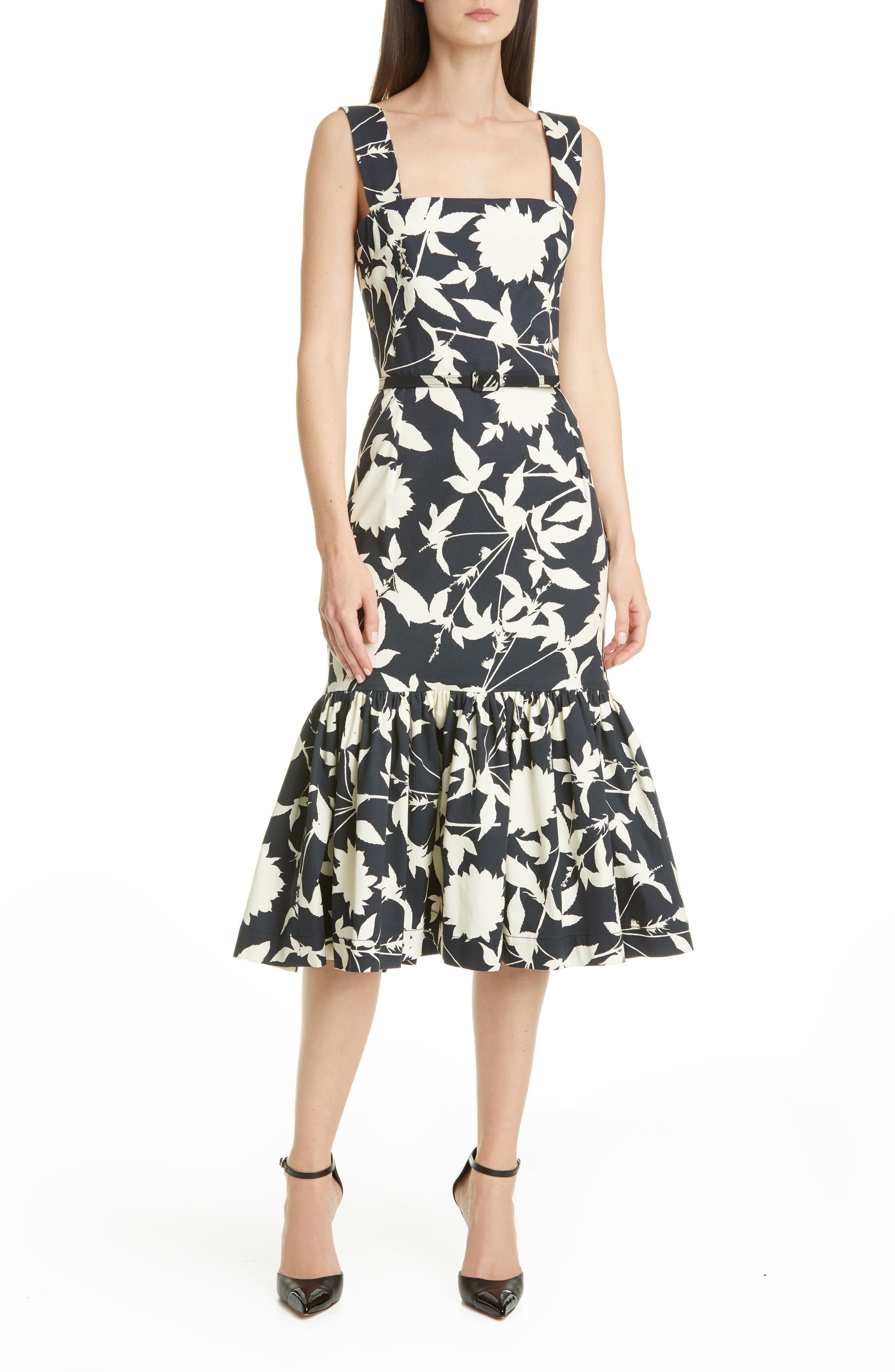 Oscar De La Renta Ruffle Hem Floral Stretch Twill Midi Dress Nordstrom Fashion Clothes Women Dresses Nordstrom Dresses [ 4048 x 2640 Pixel ]