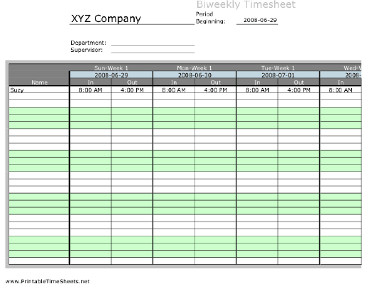 Biweekly Multiple Employee Timesheet, 1 Work Period Printable Time Sheets,  Free To Download