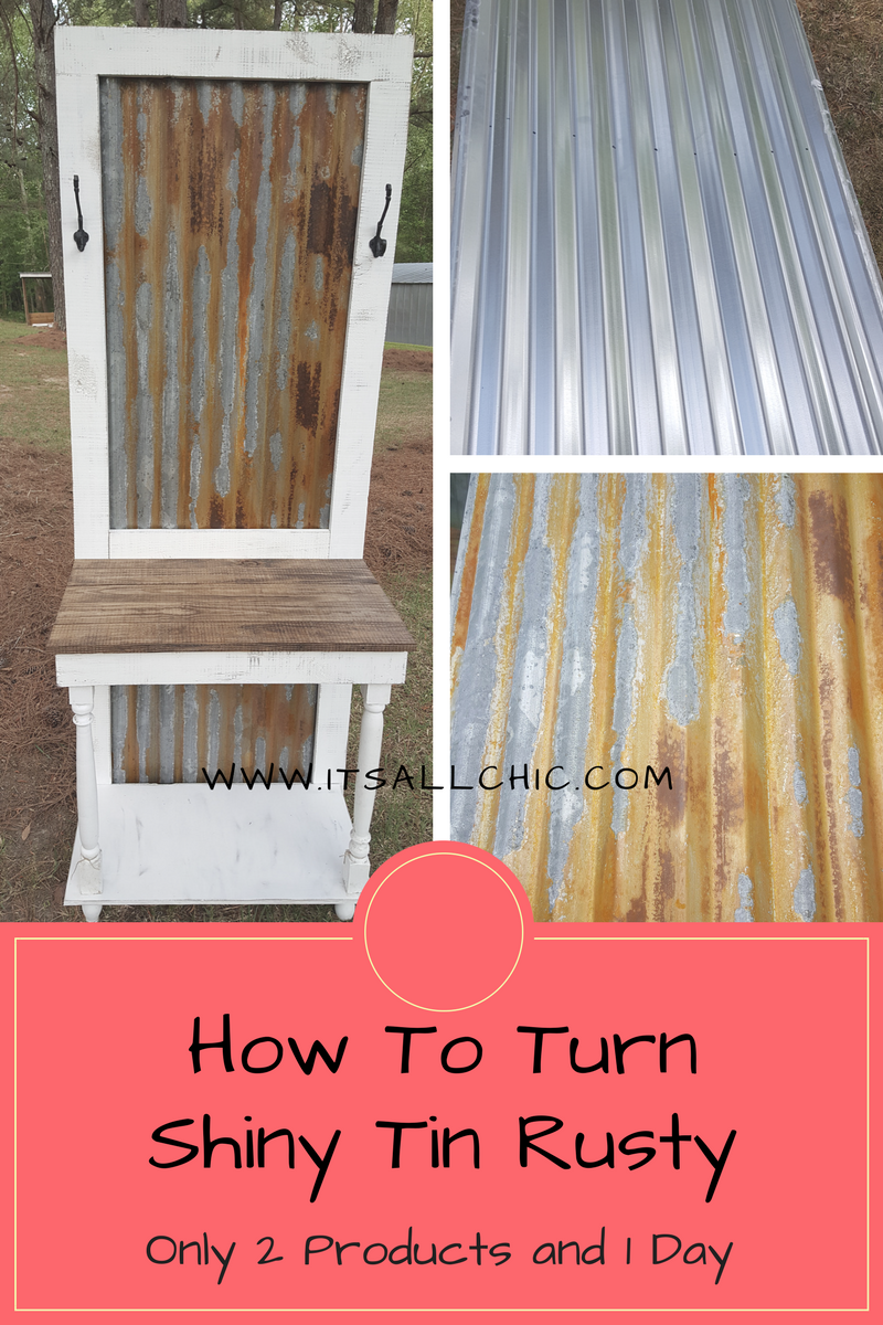 How To Age Galvanized Tin It S All Chic Barn Tin Tin Walls Corrugated Metal Wall