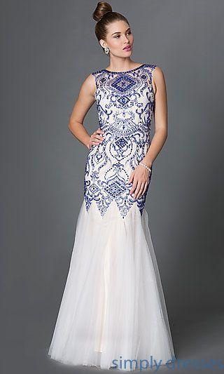 fc0ba55bda8 Bead Embellished Floor Length Dropped Waist Dress with Open Back ...