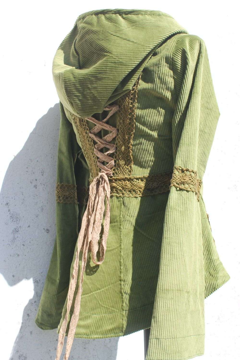 4feed17e31 olive green and brown laceup corset jacket with a big hoodie and lace  details. €155.00