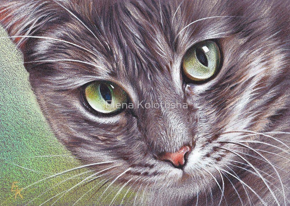 """Alice"" by Elena Kolotusha Cat art, Watercolor cat"