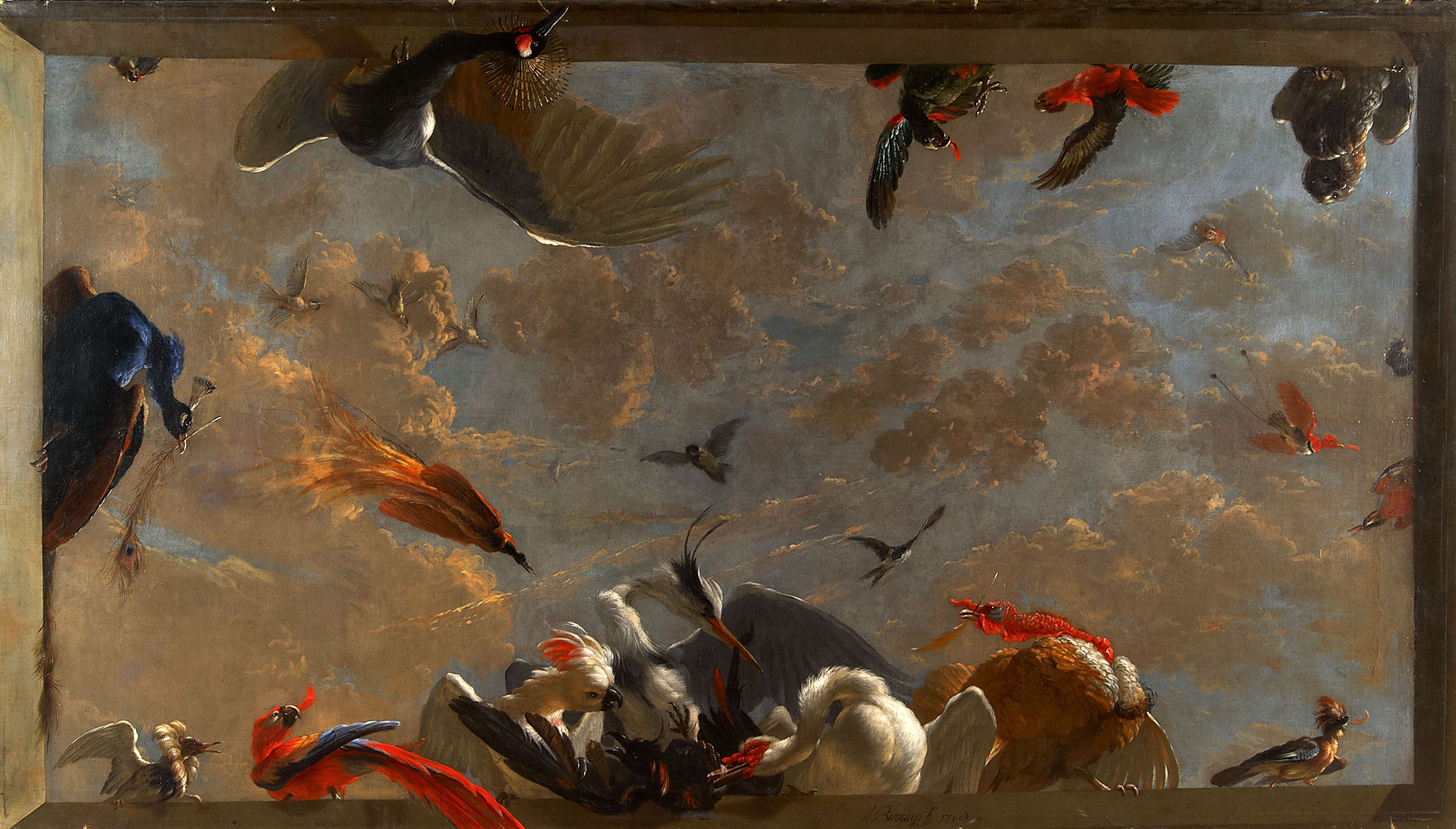 Abraham Busschop, Ceiling Painting from Dordrecht: The Raven Being Robbed Of The Feathers He Had Adorned Himself With, 1708 (Dordrechts Museum)