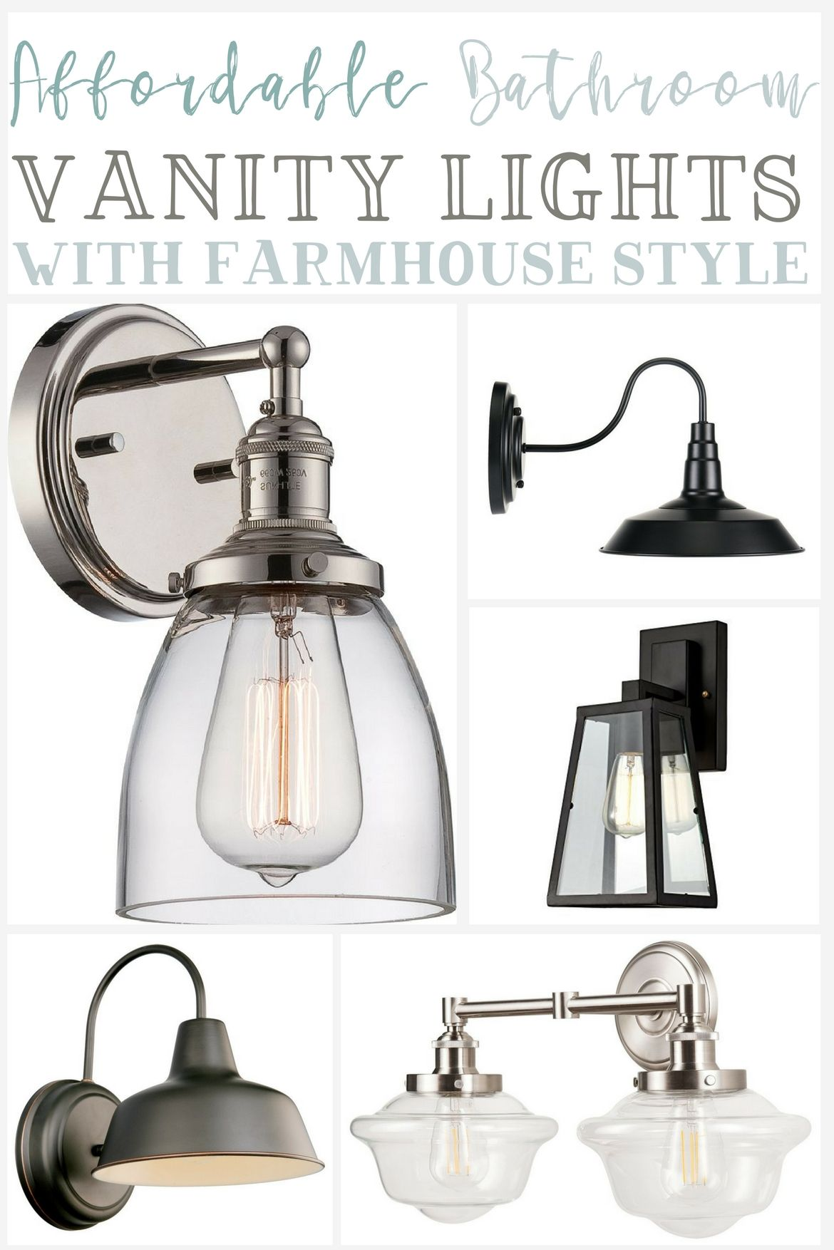 Affordable Farmhouse Bathroom Vanity Lighting