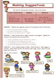 English worksheet: MAKING SUGGESTIONS | suggestion2 | Grammar ...