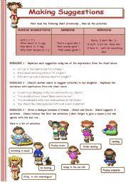 English Worksheet Making Suggestions