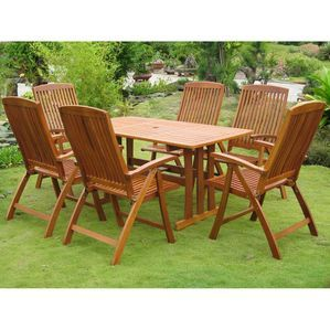 International Caravan Royal Tahiti La Coruna 7-Piece Patio Set in Stain