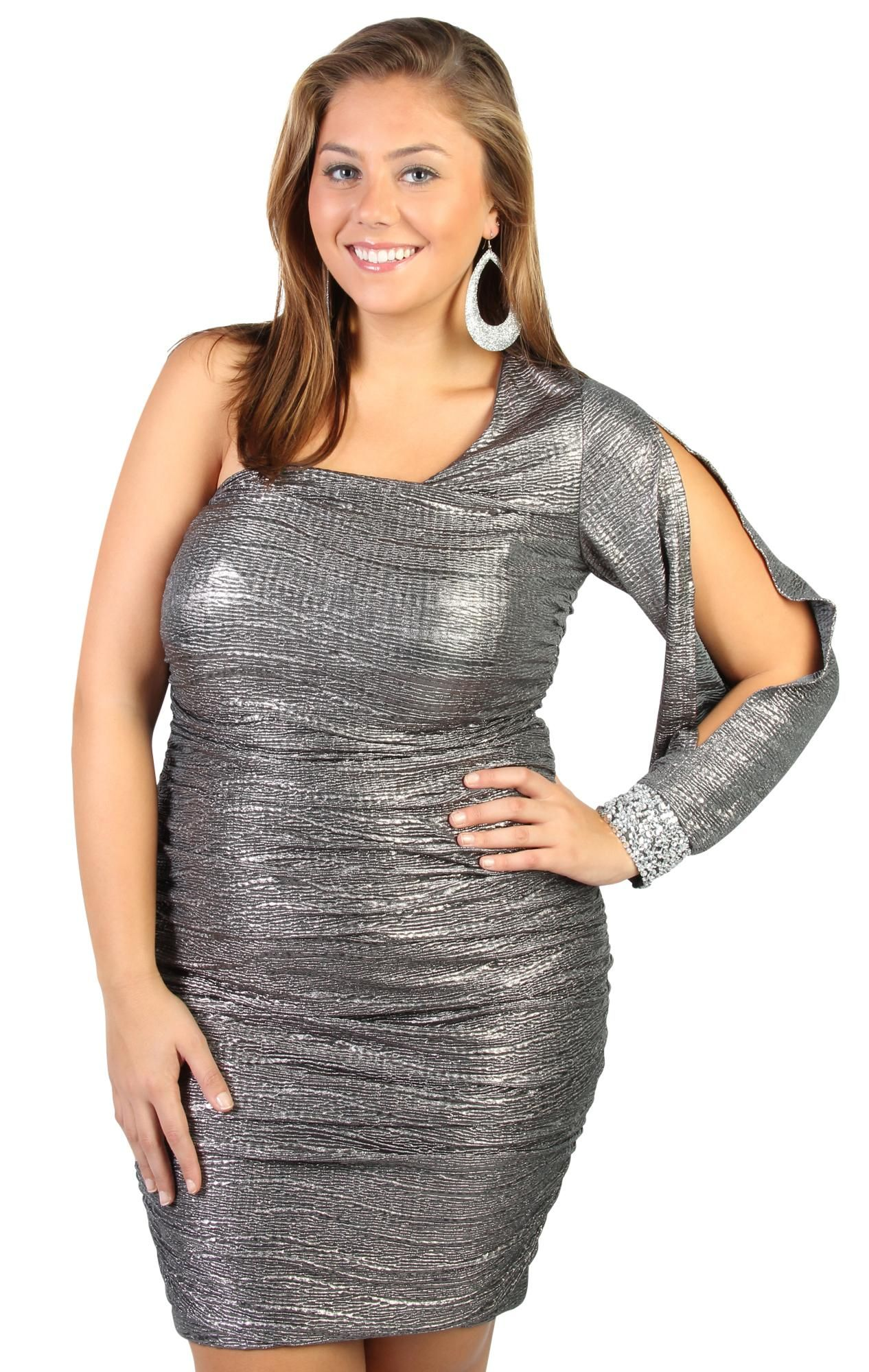 Plus size all over metallic knit one shoulder homecoming dress