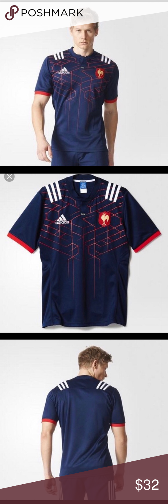 Adidas FFR Rugby Replica Jersey Mens S Blue Red Ffr Home ...