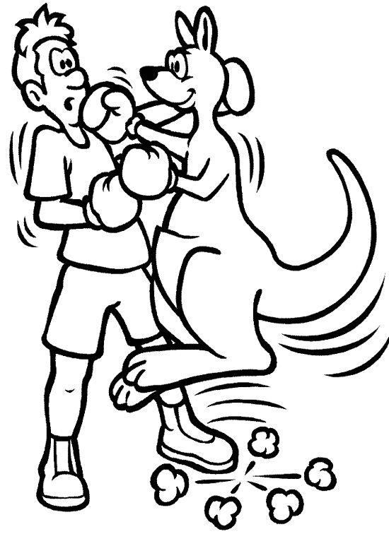 Kangaroo And The Man Boxing Coloring Page Love Coloring Pages Coloring Pages Coloring Pages To Print