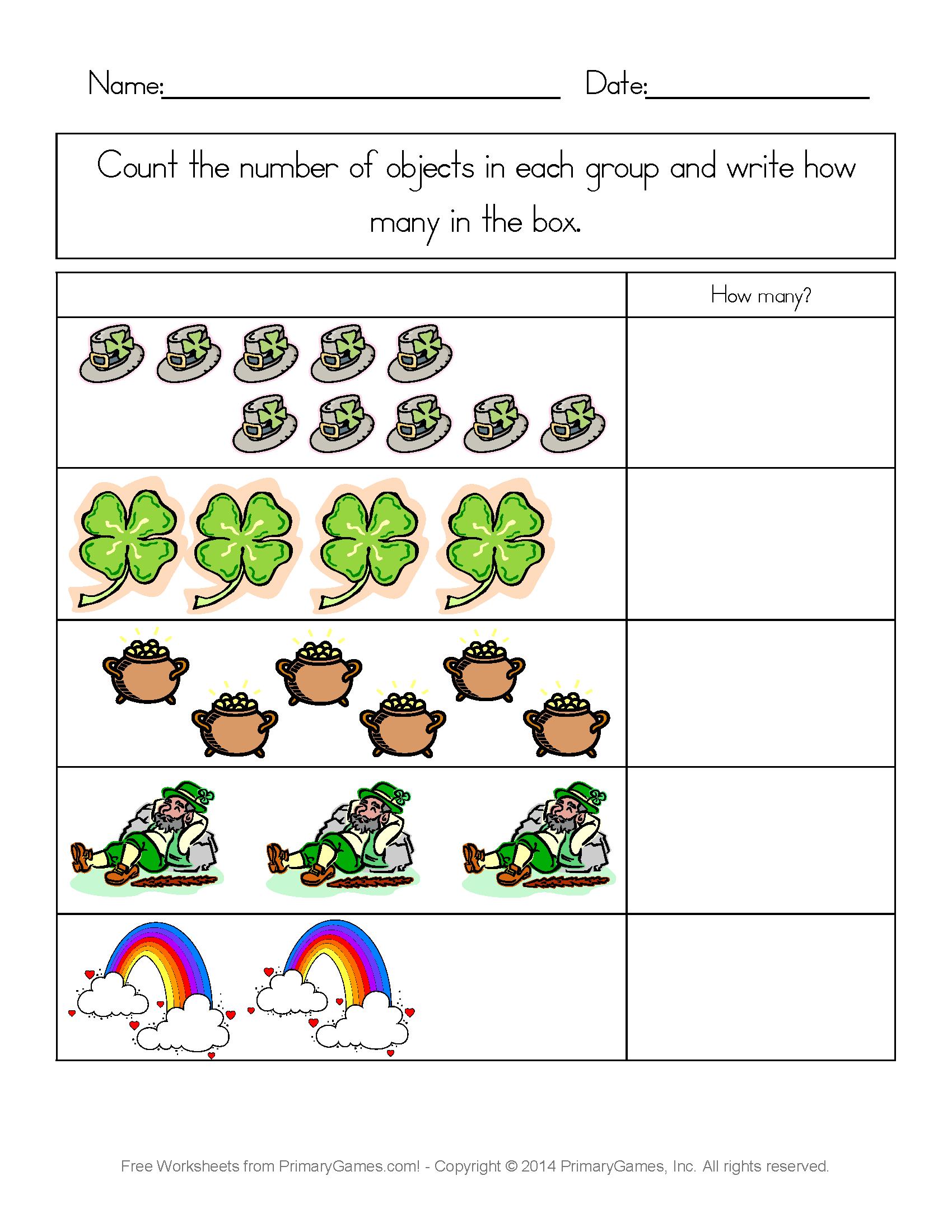 Worksheets St Patricks Day Worksheets st patricks day worksheets counting practice practice