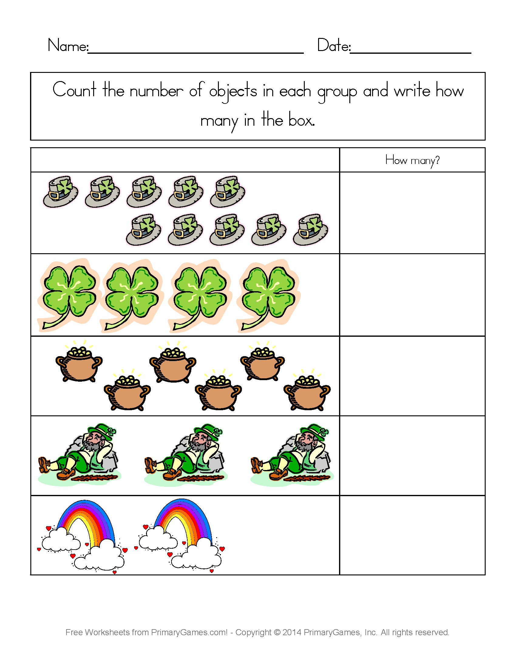 St Patrick S Day Counting Practice Free Printable Ebook