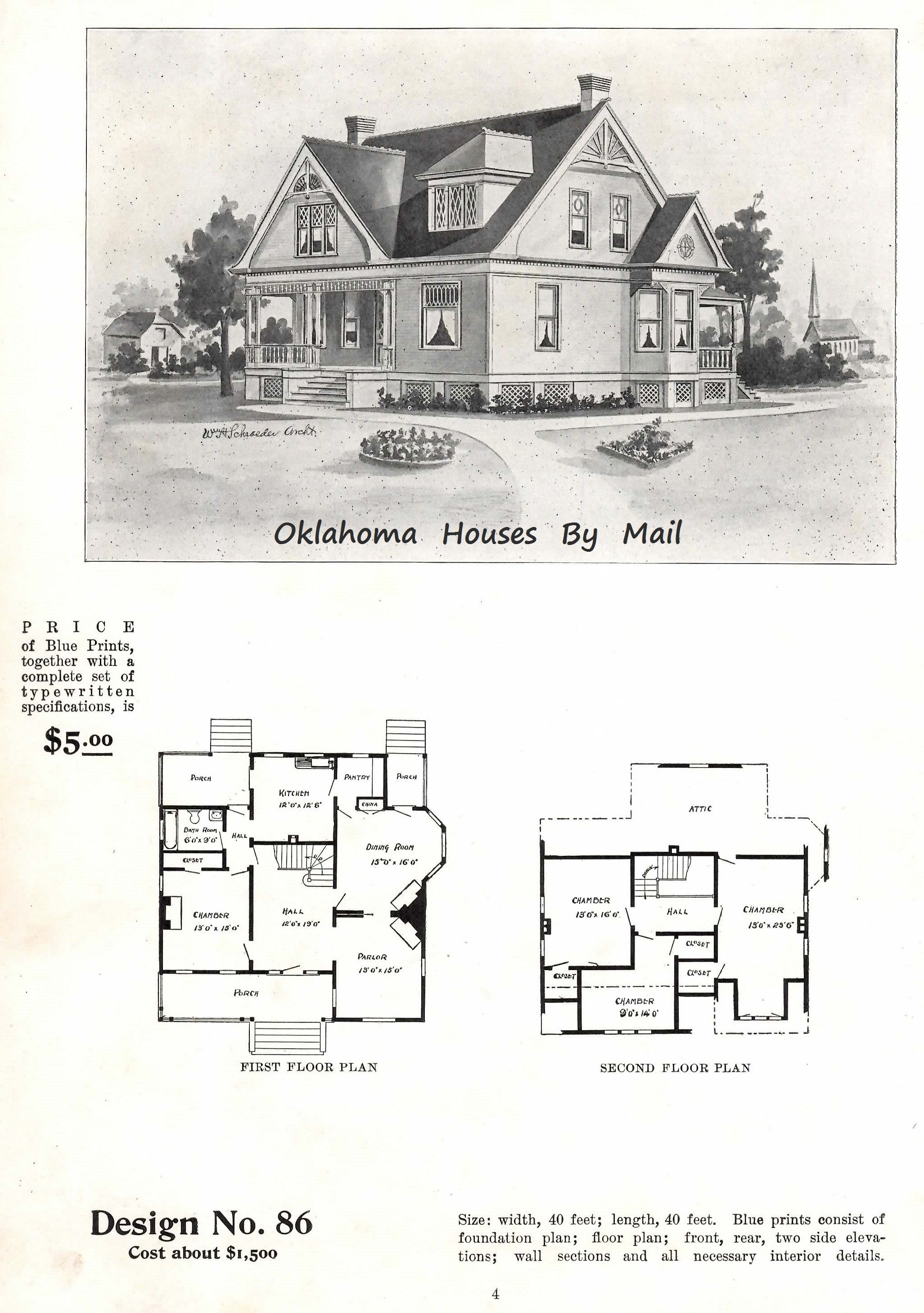 This Is William Radford Design No 86 From His 1903 Book Of Patterns William H Schroeder Is The One Who De Vintage House Plans Architectural Prints Floor Plans