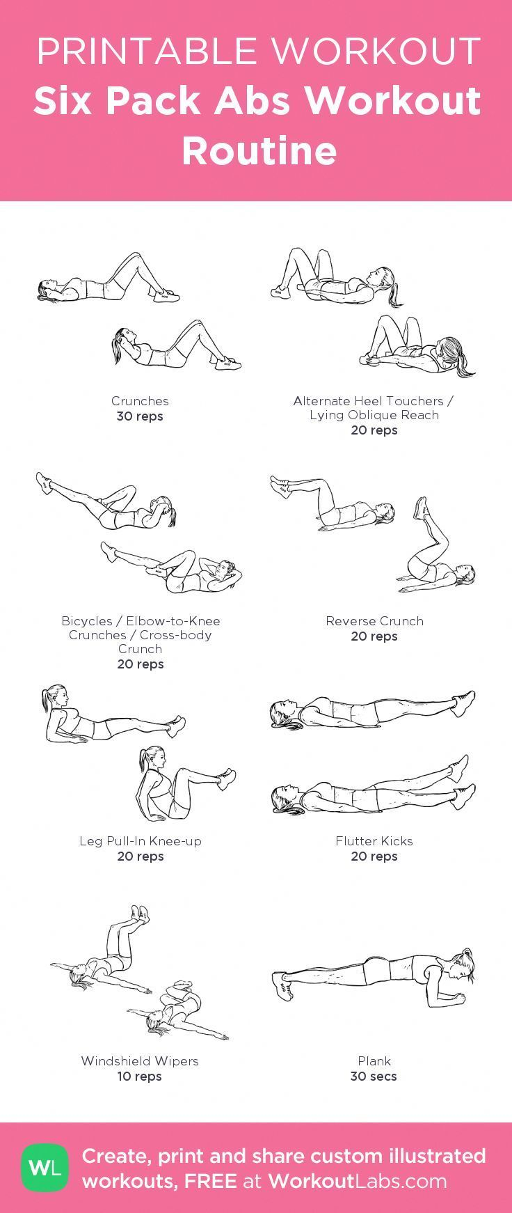 Six Pack Abs Workout Routine: my visual workout created at WorkoutLabs.com • C...   - Fitness - #ABS...