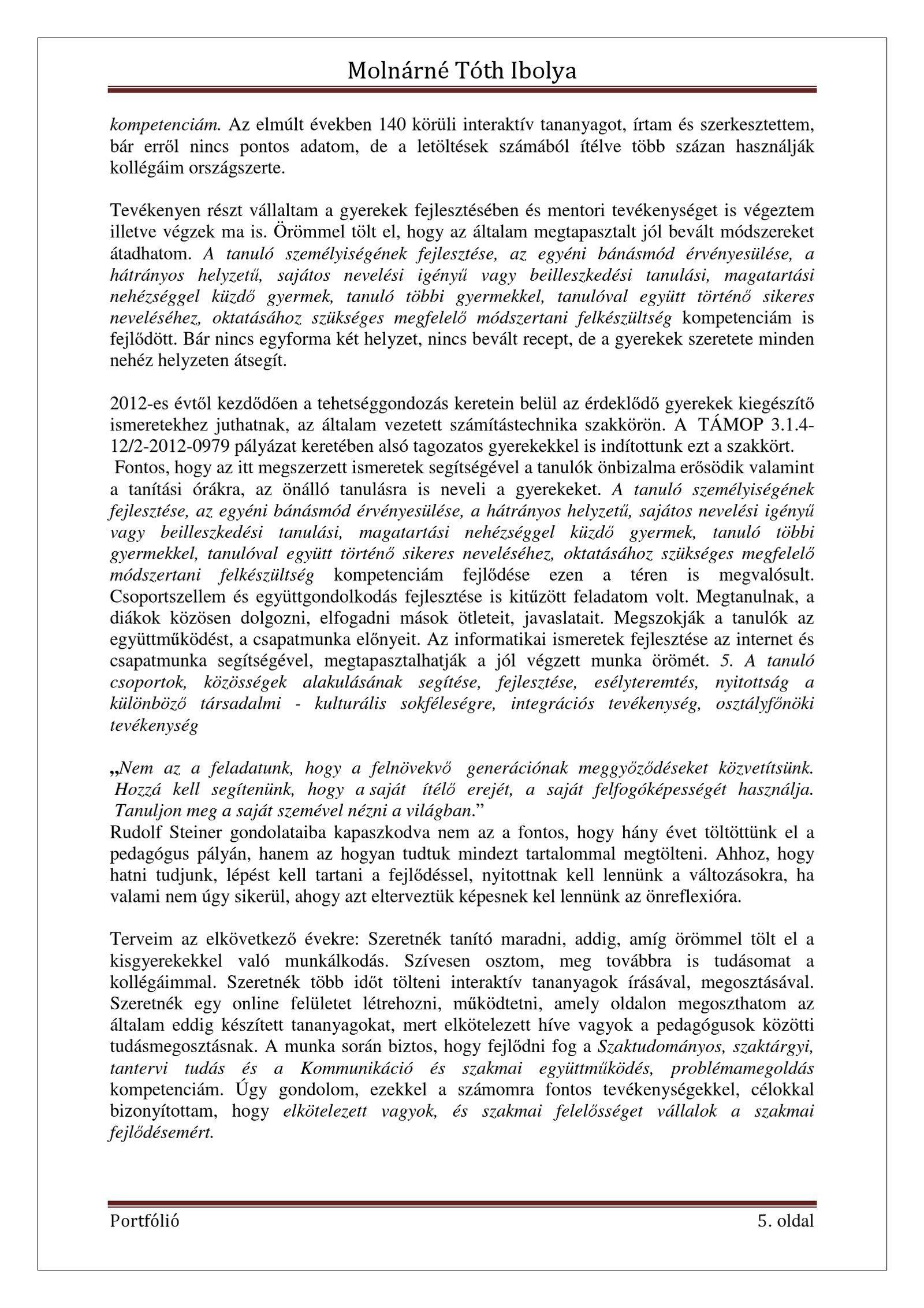 önéletrajz oktatás Molnárné Tóth Ibolya Szakmai önéletrajz | PDF Flipbook | Tanítás  önéletrajz oktatás