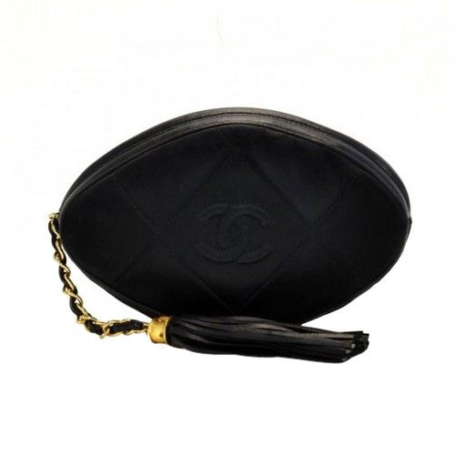 21362e413b2a3f Vintage Chanel Black Quilted Satin Leather Fringe Mini Clutch Bag ...