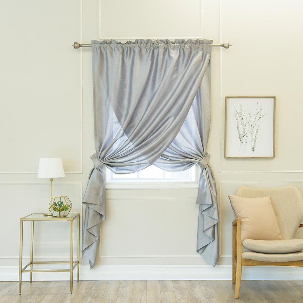 Best Home Fashion Grey 84 In L Faux Silk Overlap Curtain Panel 1