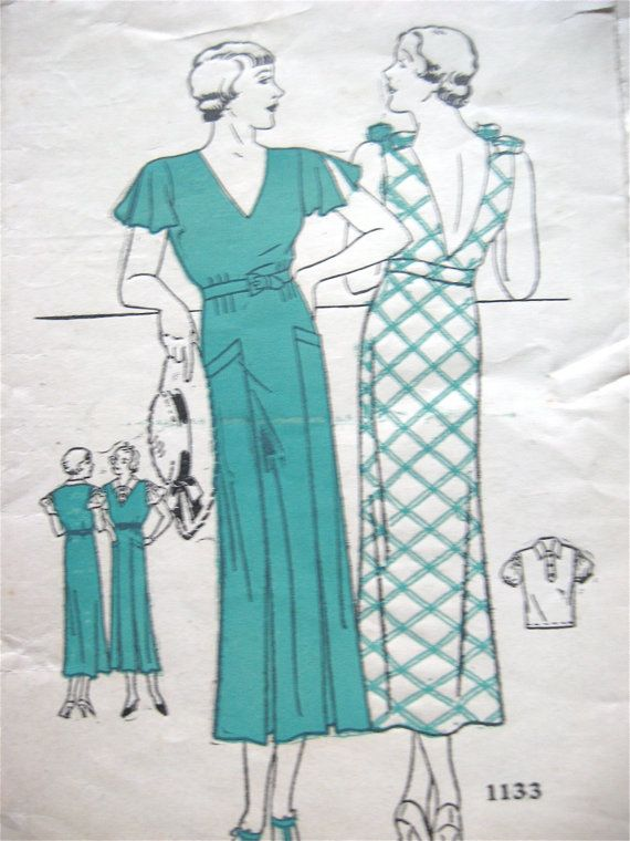 Early 1930s dress with blouse pattern 1133.