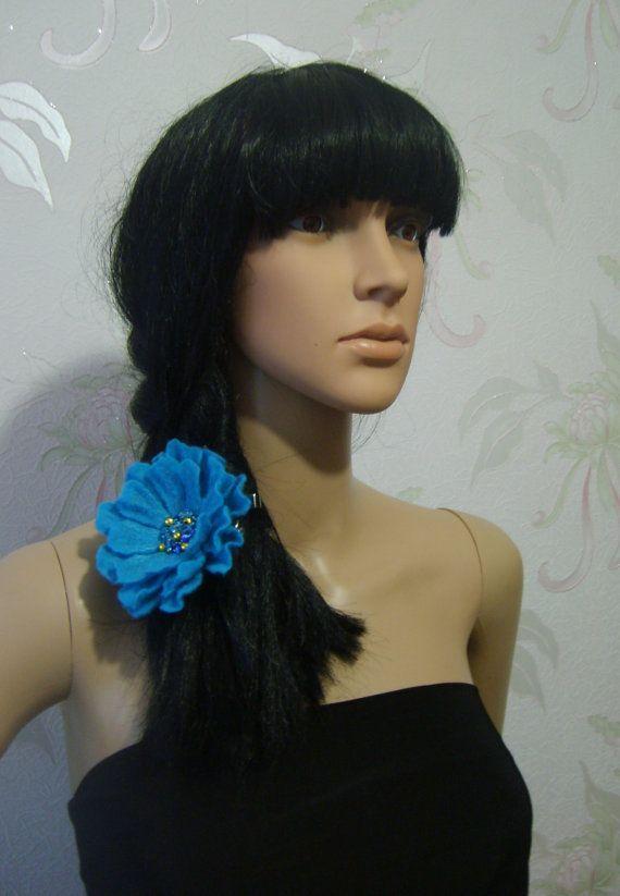 Felted brooch-Felt brooch-Brooch felt flower-Flower brooch-handmade felt brooch- Wool brooch-summer -turquoise blue brooch