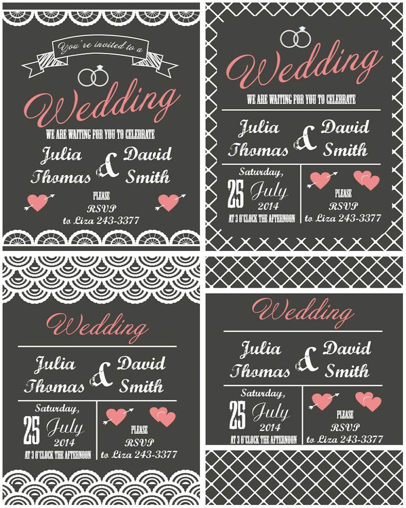 Flat Modern Wedding Invitations Vector DIY Vector Silhouettes - Modern wedding invitation templates